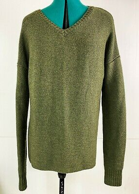 AU58.50 • Buy Viktoria & Woods Olive V Neck Long Sleeve 100% Wool Knit Jumper Sweater Size 0