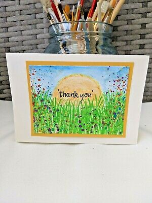 £3.49 • Buy 'Thank You ' Hand Painted Card With Bright Colours And Flower Scene.