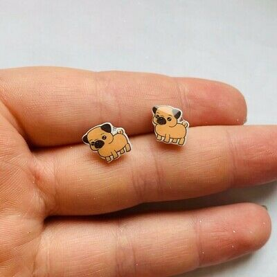 £3.99 • Buy Pug Dog Puppy Animal Pet Pair Studs Cabochon Earrings Stud Silver Look Tiny NEW