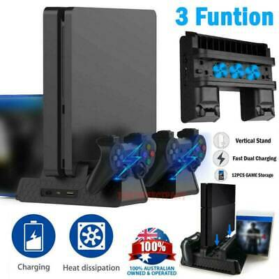 AU36.99 • Buy For PS4 Pro / Slim Vertical Stand + Cooling Fan Controller Charging Dock Station