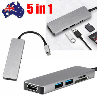AU27.88 • Buy 5 In 1 USB-C HUB Type-C Adapter Dock Macbook Pro Multi 3.0 4K HDMI Ethernet