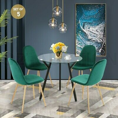AU259.95 • Buy Modern Dining Table Chairs 5 Set Clear Glass Velvet Round Kitchen Furniture GN