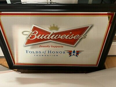 $ CDN249.81 • Buy Budweiser Beer FOLDS OF HONOR Mirror From 2012 Used Never Displayed Bud Military