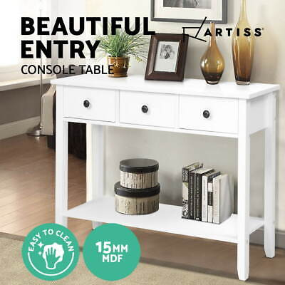 AU107.95 • Buy Hallway Console Table Hall Side Entry 3 Drawers Display White Desk Furniture