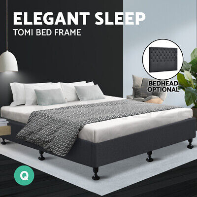 AU91.95 • Buy Bed Frame Base Queen Size Mattress Platform Foundation Wooden Fabric Charcoal