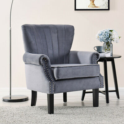 £154.99 • Buy Velvet Or Tartan Armchair Occasional Accent Chair Wing Back Studded Design