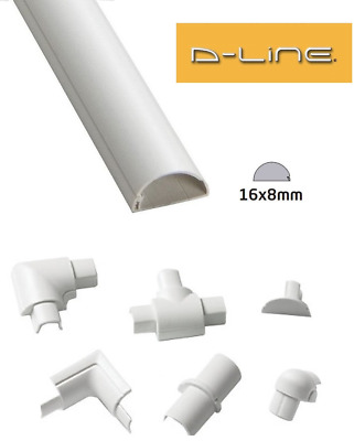 £2.19 • Buy D-Line 16mm X 8mm White Micro Trunking PVC Cable Management Hide Cover