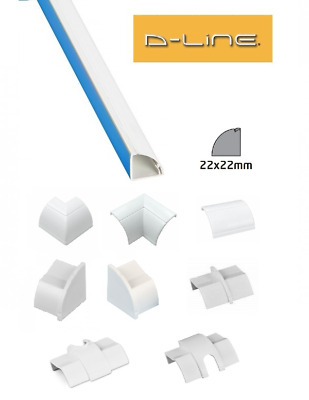 £2.59 • Buy D-Line 22mm X 22mm White Quadrant Trunking PVC Cable Management Hide Cover