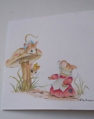 £2.50 • Buy Hand Painted Greeting Card. Of Of Mice