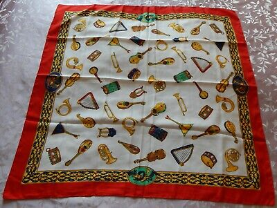 £6 • Buy Vintage Tie Rack Musical Instruments Classical Art Of Scarf Italian Made Square