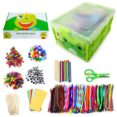 £17.99 • Buy Arts And Crafts For Kids Storage Box 1200+ Googly Eyes Glitter Glue And More!