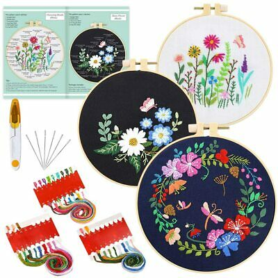 £9.49 • Buy 3Sets Embroidery Cross Stitch Kit For Beginners-Handmade Embroidery DIY Craft UK