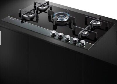 AU300 • Buy 90cm Gas On Black Glass Cooktop - Fisher & Paykel - Used Good Condition