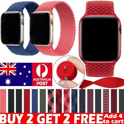 AU12.99 • Buy For Apple Watch 6 5 4 3 SE 38/40/42/44 Mm Nylon Band Braided Solo Loop Strap