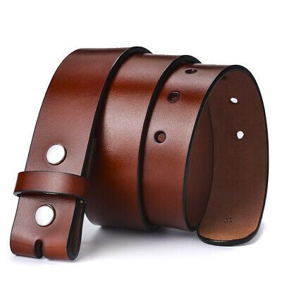 £9.89 • Buy 38mm Mens Leather Belt Brown Genuine Leather Strap For Pin Buckle Without Buckle