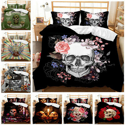 £20.72 • Buy Psychedelic Skull 3 Pcs Duvet Cover High Quality Bed Sets Stylish All Season