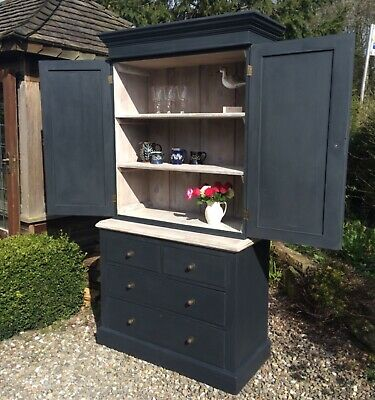£895 • Buy Antique Linen Press In Farrow&Ball 'off Black' With A Lime Washed Interior.