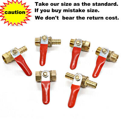 £3.39 • Buy Brass Red Lever Handle Shut-off Ball Valve BSP Female Male Hose Barb Inline Line