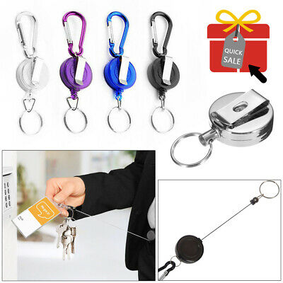 £1.99 • Buy 1/2/4 PCS Stainless Silver Retractable Key Chain Recoil Keyring Heavy Duty Steel