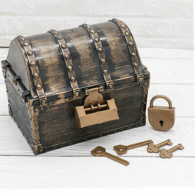 Children Gift Vintage Early Learning Storage Box Kids Toys Pirate Treasure Chest • 10.99£