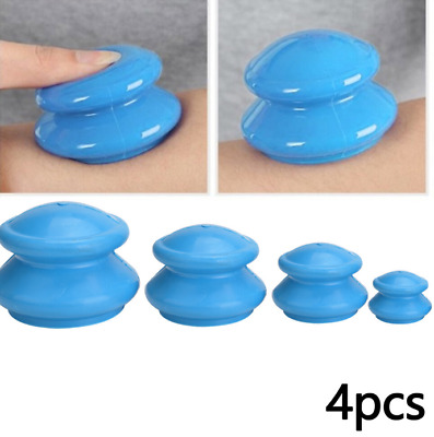4PCS Silicone Medical Vacuum Massager Cupping Cups Therapy Anti Cellulite Set • 8.53£