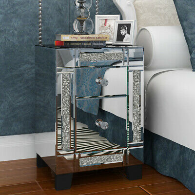 £115.99 • Buy Mirrored Crystal Diamond Side Glass 2 Drawers Bedside Cabinet Tables Furniture
