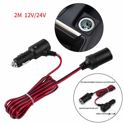£6.88 • Buy 2 Meters Car Cigarette Lighter 12V Extension Cable Adapter Socket Charger Lead