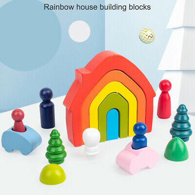 £12.49 • Buy Wooden Rainbow Building Stacking Blocks Baby Toddler Educational Montessori Toys