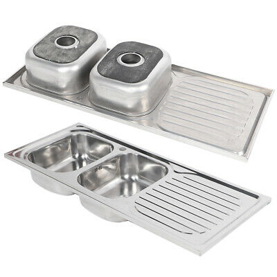 Stainless Steel Inset Kitchen Sink Double Deep Bowl Reversible Drainer 120x50cm • 120.18£