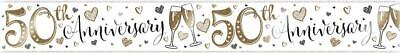 £2.25 • Buy 9ft Holographic Wedding 50th Golden Anniversary Banner Party Wall Decorations