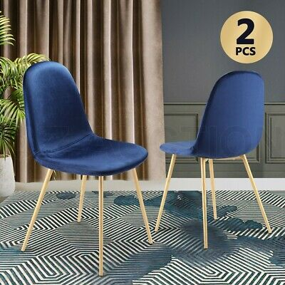 AU89.95 • Buy Soft Dining Chairs Velvet Kitchen Chairs Ergonomic Chair Set Of 2 With Metal Leg
