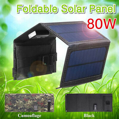 £14.99 • Buy 80W USB Solar Panel Folding Portable Power Charger Camping Travel Phone Charger