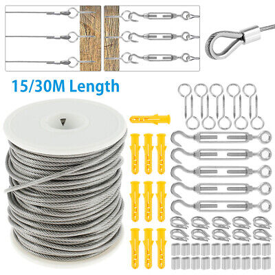 £8.69 • Buy 15M/30M Stainless Steel Wire Rope Cable Hooks Hanging Kit Garden Railing Roll UK