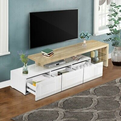 AU229.95 • Buy 180cm TV Stand Cabinet High Gloss Wooden Storage Unit Entertainment Oak &White