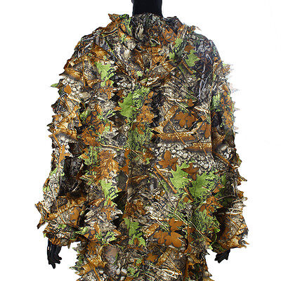 AU29.39 • Buy Leaf Ghillie Suit Woodland Camo Camouflage Clothing Jungle 3D Hunting Outdoor