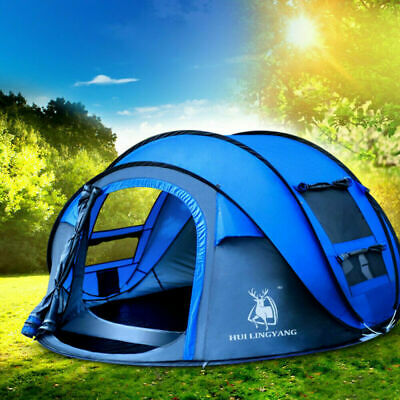 AU144.45 • Buy 3/4Person Man Family Tent Blue Instant Pop Up Tent Breathable Outdoor Camping UK