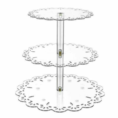 3 Tiers Clear Cupcake Dessert Stand Wedding Cake Display Plates Acrylic Holder • 9.79£