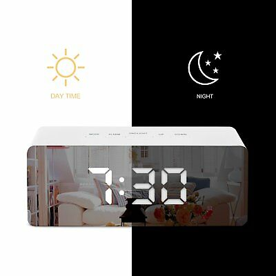 AU17.38 • Buy LED Digital Mirror Alarm Clock Night Lights Wall Clock With Date Thermometer USB