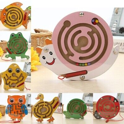 £5.99 • Buy Wooden Puzzle Magnet Beads Slot Maze For Baby Kids Educational Intelligence Toys