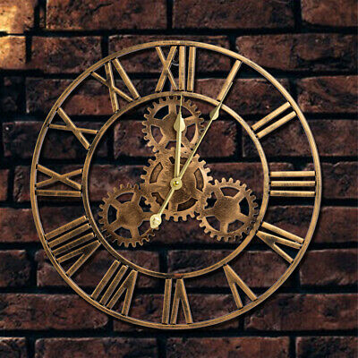 £16.80 • Buy Round Modern 40CM Wall Clock Roman Numeral Indoor/Outdoor Gold Mechanical Home