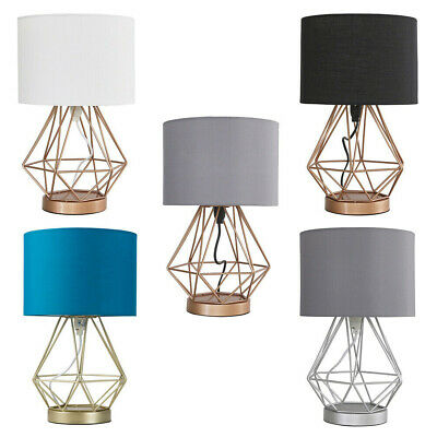 £26.99 • Buy Touch Table Lamp Pair Geometric Cage Design Fabric Shades LED Bulb Lounge Light