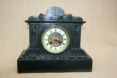 £95 • Buy Antique French Black Slate And Marble 8 Day Mantel Clock