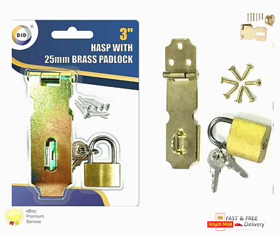 £2.79 • Buy 3  HASP & STAPLE With Padlock Security Locks Door Gate Shed Safety