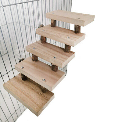 £4.99 • Buy 5 Layers Wooden Hamster Ladder Parrot Cage Climbing Stairs Perches Stand Toy