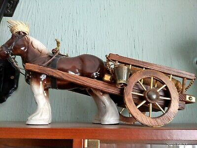 £12.99 • Buy Pottery Shire Horse And Wooden Cart.