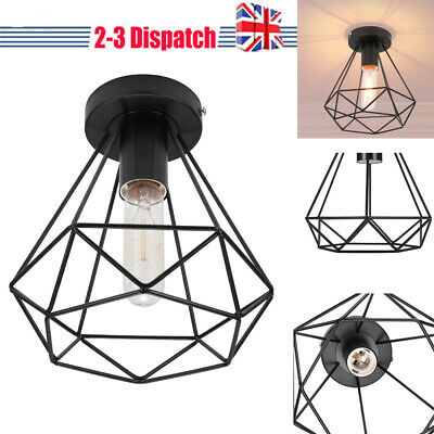 £10.98 • Buy Geometric Metal Cage Industrial Wire Frame Pendant Light Loft Ceiling Lamp Shade