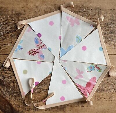 £9.50 • Buy Handmade Oilcloth Bunting, Garden/Home Pink Butterfly - 1.8 Meters Double Sided