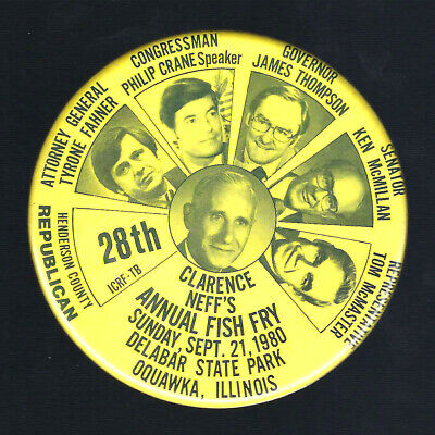 $ CDN12.47 • Buy 1980 Oquawka, Illinois Fish Fry Gov. Thompson Multigate Coattail Campaign Button