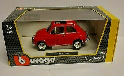 Burago 1/24 Scale - Fiat 500 Classic 1968 Red Diecast Model Car 22099 Lovely ! • 20.95£