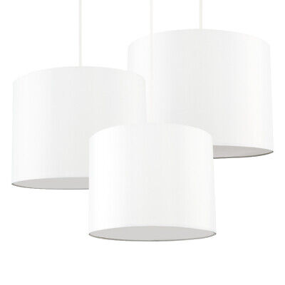 £16.99 • Buy Pendant Ceiling Light Shades Set Of 3 Cream Cylinder With Bulb Diffusers 3 Sizes